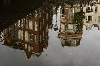 Amsterdam - Moody Canal Reflection In The Rain Print by Georgia Mizuleva
