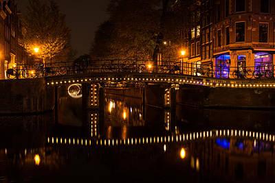 Amsterdam Night In Yellow And Purple Print by Georgia Mizuleva