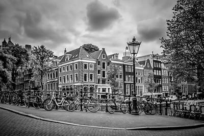 Grey Clouds Photograph - Amsterdam Prince's Canal And Leliegracht Monochrome by Melanie Viola