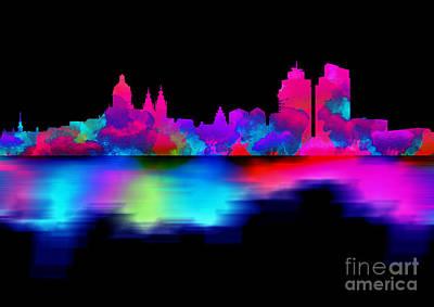 Landmarks Digital Art - Amsterdam Skyline - Pink Blue by Prarthana Kulasekara