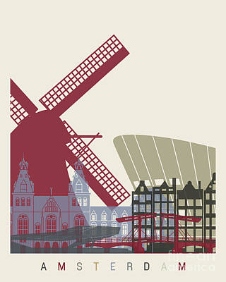 Netherlands Painting - Amsterdam Skyline Poster by Pablo Romero