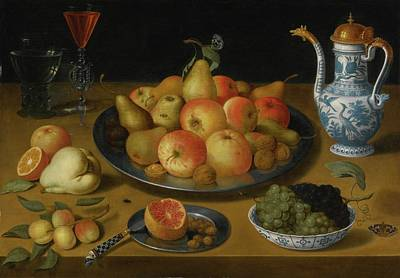 Amsterdam Still Life Of Pears And Apples On A Pewter Plate Print by Lucas Luce
