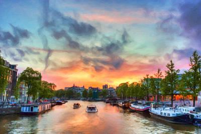 Amsterdam Sunset Print by Nadia Sanowar