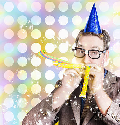 Loud Photograph - Amusement Man In Party Hat Celebrating A Birthday Bash by Jorgo Photography - Wall Art Gallery