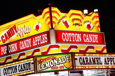 Cotton Candy Photograph - Amusement Park Concession Stand Food Sign by Paul Velgos