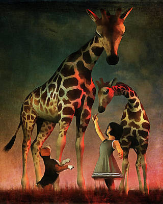 Amy And Buddy With The Giraffes Print by Jan Keteleer