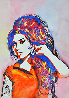 Amy Winehouse In Watercolor Print by Margarete Bom