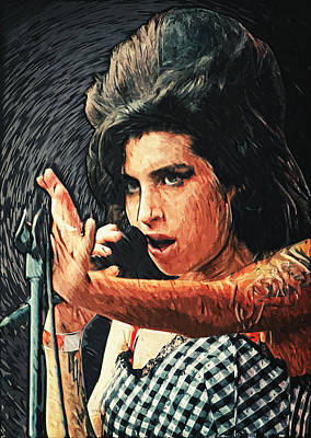 Amy Winehouse Print by Taylan Apukovska