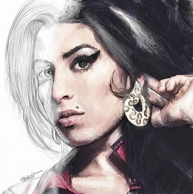 Eye Lashes Drawing - Amy Winehouse Unfinished Journey  by Mark Tonelli