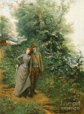 Flowers Painting - An Afternoon Stroll by Georges Jules