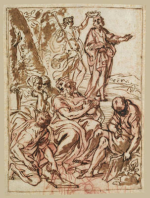Drawing - An Allegorical Design With Fame Crowning Homer by Carlo Maratta