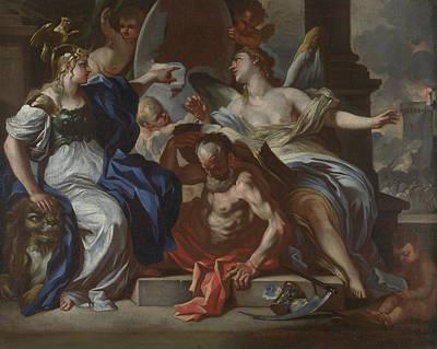 Chronos Painting - Minerva With Chronos And History by Francesco Solimena