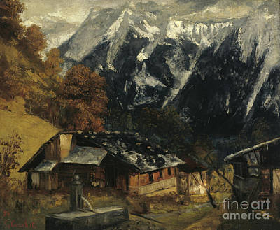 Ski Painting - An Alpine Scene by Gustave Courbet