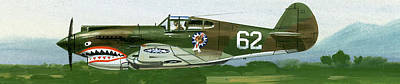 Jet Painting - An American Curtiss P40 B Fighter by Wilf Hardy