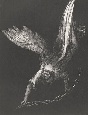 An Angel With A Chain In His Hands Print by Odilon Redon