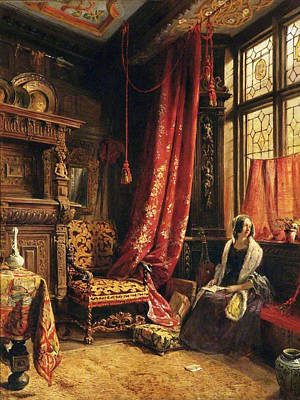 An Antique Interior At West Hill House Print by William Collingwood