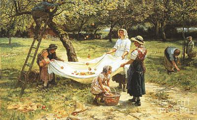 An Apple Gathering Print by Frederick Morgan