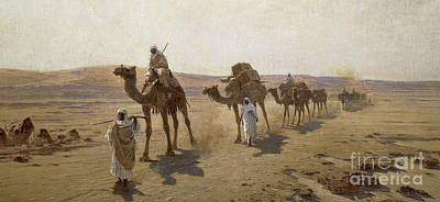 Camel Painting - An Arab Caravan by Ludwig Hans Fischer