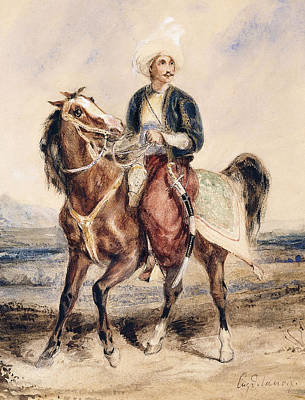 Horseback Painting - An Arab Warrior On Horseback In A Landscape by Ferdinand Victor Eugene Delacroix
