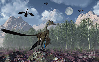 Triassic Digital Art - An Archaeopteryx Standing At The Edge by Mark Stevenson