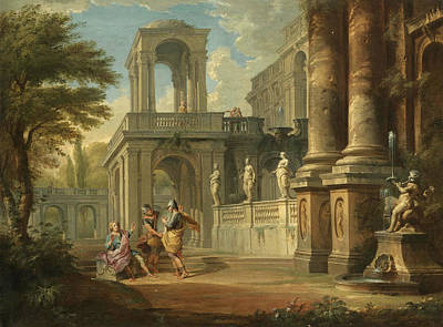 Painting - An Architectural Capriccio With Two Soldiers Addreseing A Young Man Figures On A Balcony Beyond by Giovanni Paolo Panini