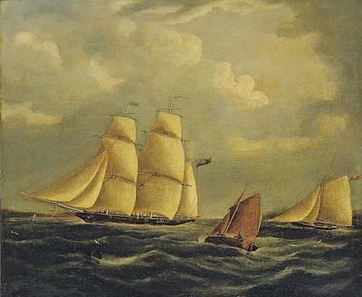 An Armed Brig And Cutter In The Channel Print by James Edward