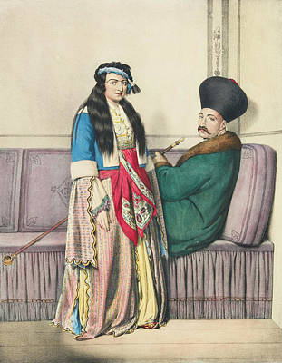 Louis Dupre Drawing - An Armenian Nobleman And His Wife. Duz Oglou Family by Louis Dupre