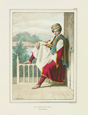 Louis Dupre Drawing - An Attendant To Veli Pasha Of Thessaly by Louis Dupre