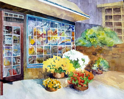 Mums Painting - An Autumn Day At Peddler's Village by Karen Liebman