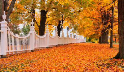 Old Country Roads Photograph - An Autumn Stroll - West Bennington Vermont by Thomas Schoeller