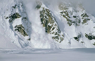 An Avalanche Along A Rock Mountain Face Print by Tim Laman