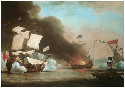 Pirate Ships Painting - An English Ship In Action With Barbary Pirates by Willem van de Velde the Younger