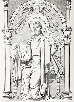Revelation Drawing - An Evangelist Writes A Sacred Text And by Vintage Design Pics