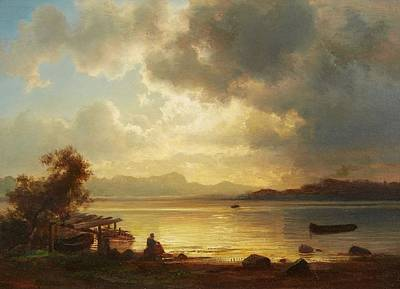 Mood Painting - An Evening Mood At Lake Starnberg by Christian Ernst
