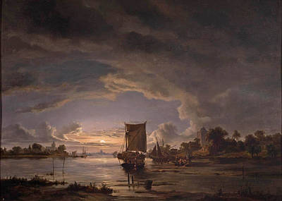 Jacob Abels Painting - An Extensive River Scene With Sailboat by Jacob Abels