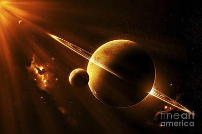 Planetary System Digital Art - An Extraterrestrial Spacecraft by Kevin Lafin