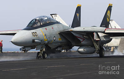 On The Runway Photograph - An F-14d Tomcat Launches Off The Flight by Gert Kromhout