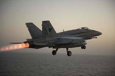 Liberty Painting - An F A-18c Hornet Launches Us Navy by Celestial Images