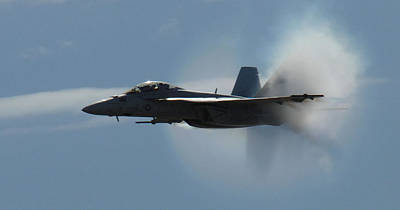 Hornet Painting - An F A-18f Super Hornet  Pushes The Limits Of The Sound Barrier  by Celestial Images