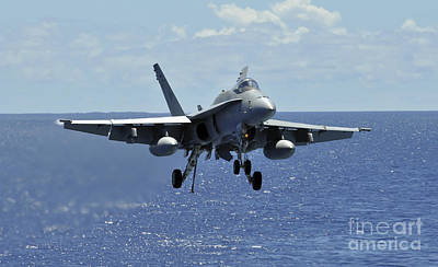 An Fa-18c Hornet Approaches The Flight Print by Stocktrek Images