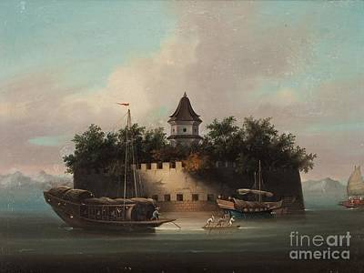 18th Century Painting - An Fortification And Jonks At The Faiway At Canton by Celestial Images