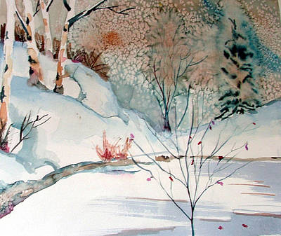 Creek Drawing - An Icy Winter by Mindy Newman