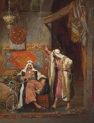 An Idle Conversation, 1872 Print by Arnold Corrodi