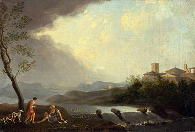 Thomas Jones Painting - An Imaginary Italianate Landscape With Classical Figures And A Waterfall by Thomas Jones