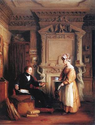 Including Painting - An Interior Including A Portrait Of John  by William Mulready