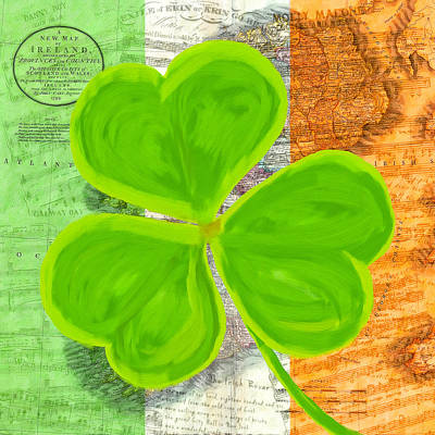 Old Sheet Music Mixed Media - An Irish Shamrock Collage by Mark Tisdale