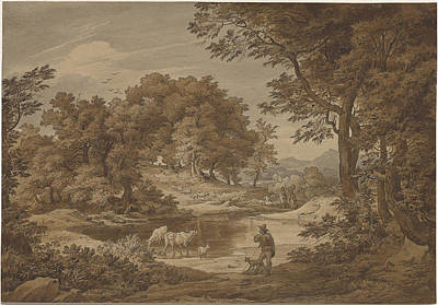 An Italianate Landscape With Shepherds Print by Friedrich Preller The Elderl