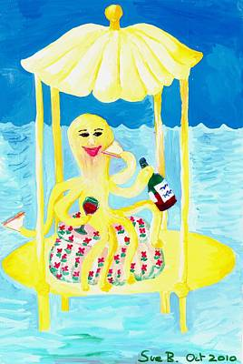 Sue Burgess Painting - An Octopus Summerhouse by Sushila Burgess