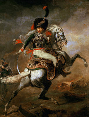 An Officer Of The Imperial Horse Guards Charging Print by Theodore Gericault