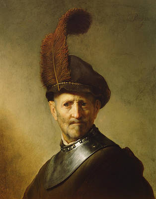 Old Age Painting - An Old Man In Military Costume by Rembrandt
